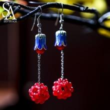 SA SILVERAGE Drop Earrings Woman Original Jade Earrings Beautiful Cloisonne Weaving Creative Grape Ball Chinese Characteristics все цены