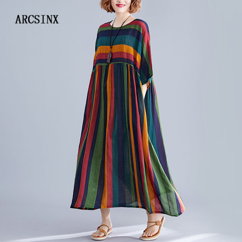 ARCSINX Boho Women's <font><b>Dress</b></font> <font><b>Plus</b></font> <font><b>Size</b></font> 4XL 5XL 6XL 7XL <font><b>8XL</b></font> Striped Mori Girl Women <font><b>Dress</b></font> Cotton Large <font><b>Size</b></font> <font><b>Dresses</b></font> And Sundresses image