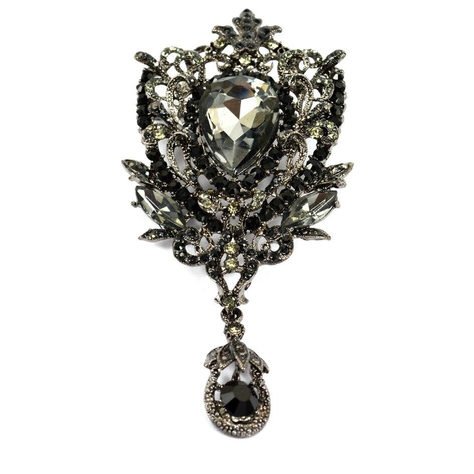 Stylish Beautiful Black Flower Lapel Pin: Black Brooch Cool Pins Beautiful Large Wedding Brooches