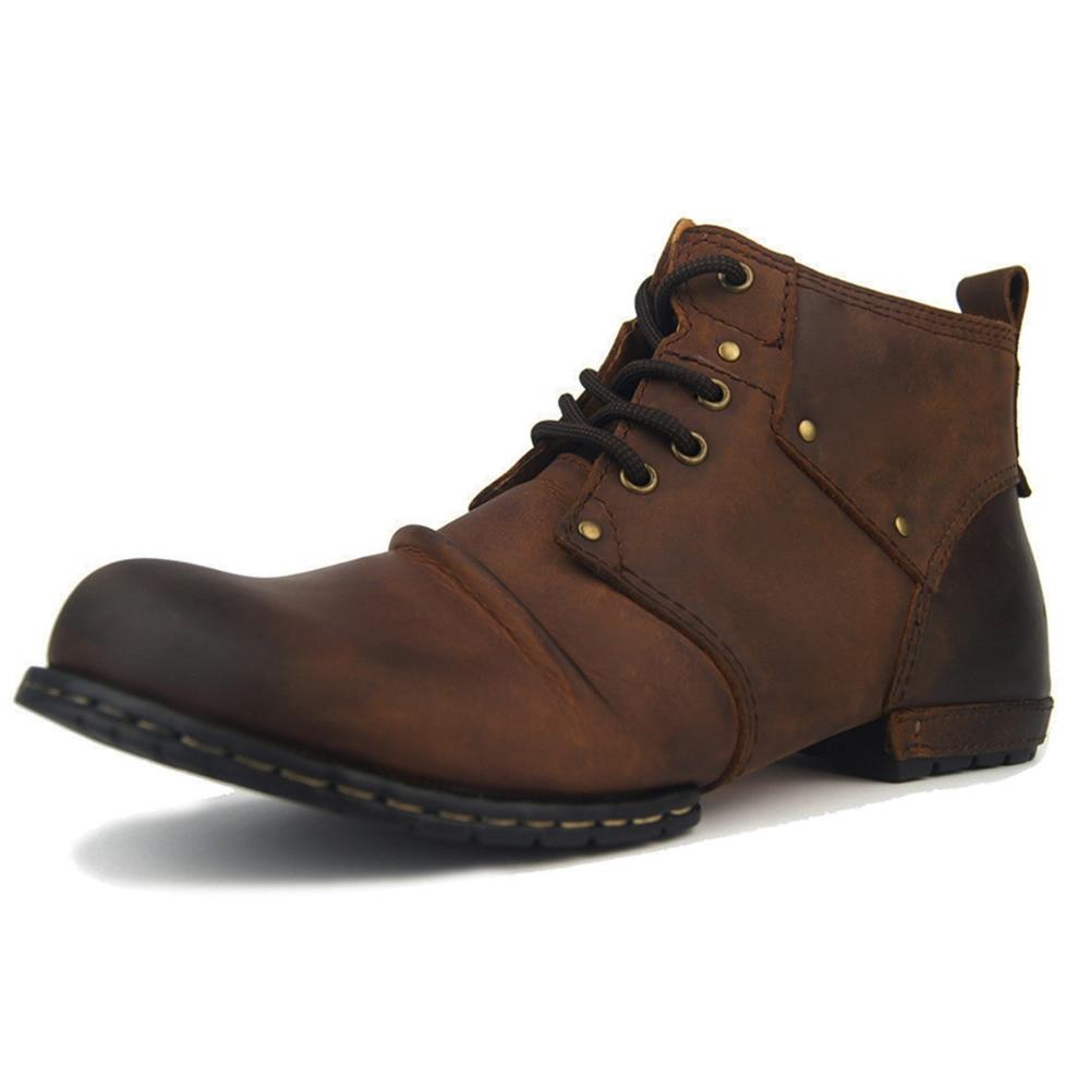 OTTO أعلى جودة اليدوية عالية الأحذية الأحذية برشام الربيع الأحذية مع الفراء حقيقية جلد البقر الرجال أحذية أنيقة شحن مجاني-في أحذية للدراجات النارية من أحذية على  مجموعة 2