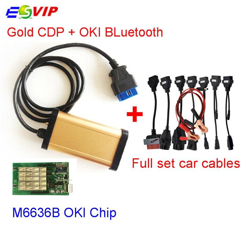 Цена за Золотой CDP С bluetooth + OKI chip 2015. R1 keygen TCS CDP Pro plus с Полный комплект 8 автомобилей кабели автоматический диагностический инструмент