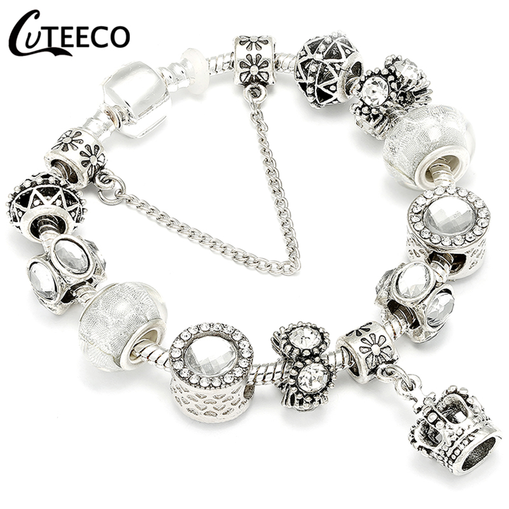 HTB1cHvyX2LsK1Rjy0Fbq6xSEXXaF - CUTEECO Antique Silver Color Bracelets & Bangles For Women Crystal Flower Fairy Bead Charm Bracelet Jewellery Pulseras Mujer