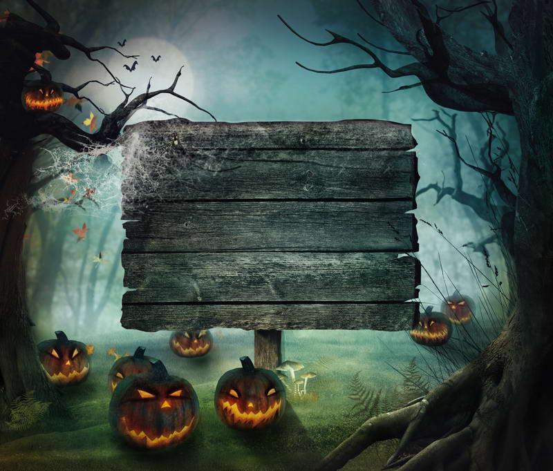 10x10ft autumn forest moon light wooden plank pumpkin lantern halloween custom backdrop photo studio background vinyl - Halloween Backdrop