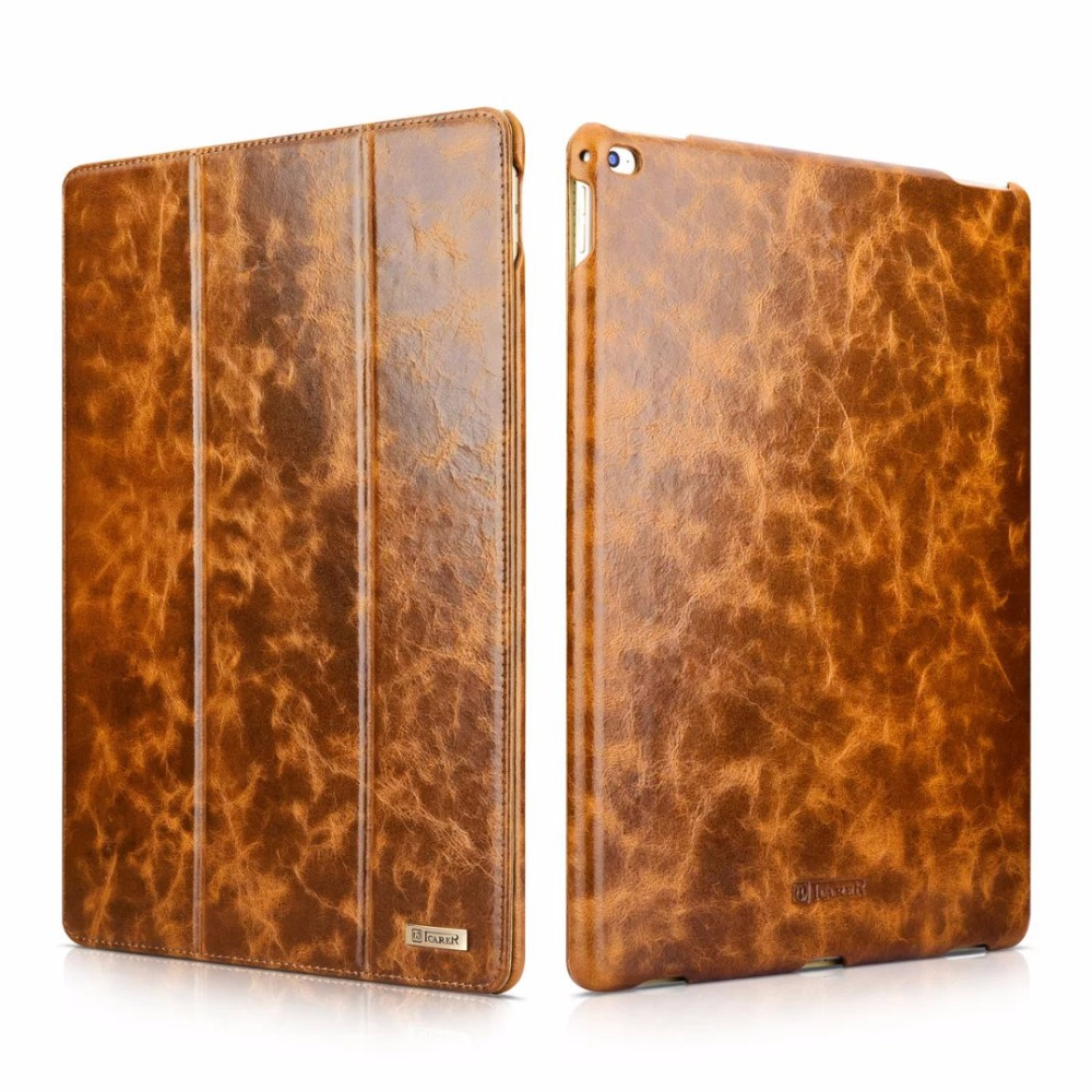 Icarer 2 couleurs huile cire Vintage en cuir véritable Folio étui pour iPad Pro 12.9 rétro cuir de vachette Flip couverture pour iPad Pro 12.9