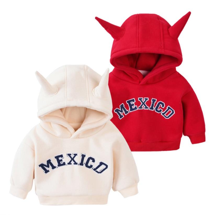 2018 новый стиль зимняя детская одежда для малышей Длинные рукава плюс бархат с капюшоном куртка для девочек Теплые куртки Для маленьких маль...