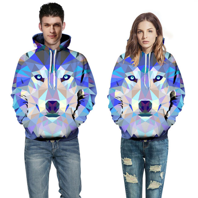 Mr.1991INC New Fashion Wolf Hoodies Men/Women Thin 3d Sweatshirts With Hat Print Colorful Blocks Wolf Hooded Hoodies 2