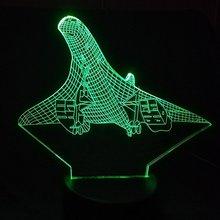 Творческий 7 цветов изменить 3D видения самолетов Моделирование Led самолеты ночник настольная лампа Декор Usb сна светильники подарки