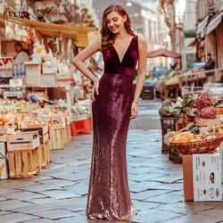 Robe De Soiree Ever Pretty Sexy Sequined Little Mermaid бордовые блестящие вечерние платья Новое поступление Дешевые Длинные Выпускные платья 2020