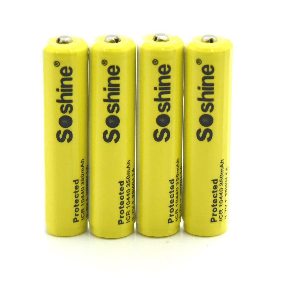 Soshine 10440 Battery 3.7v li-ion Rechargeable 350mAh 4-Pack