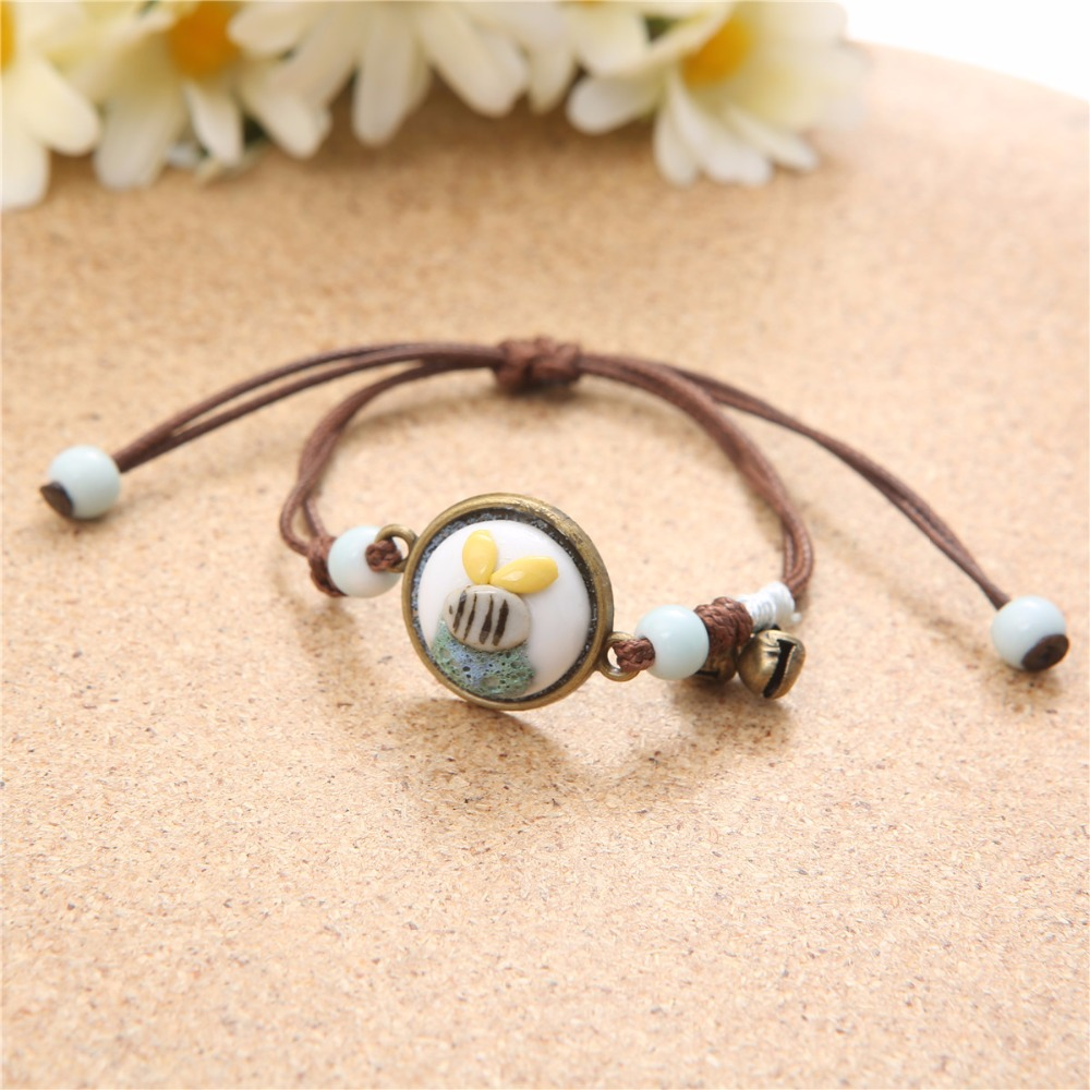 ceramic bee charm mori girl earthy color bracelet handmade jewelry rope chain hand accessories insect design with bell 1194