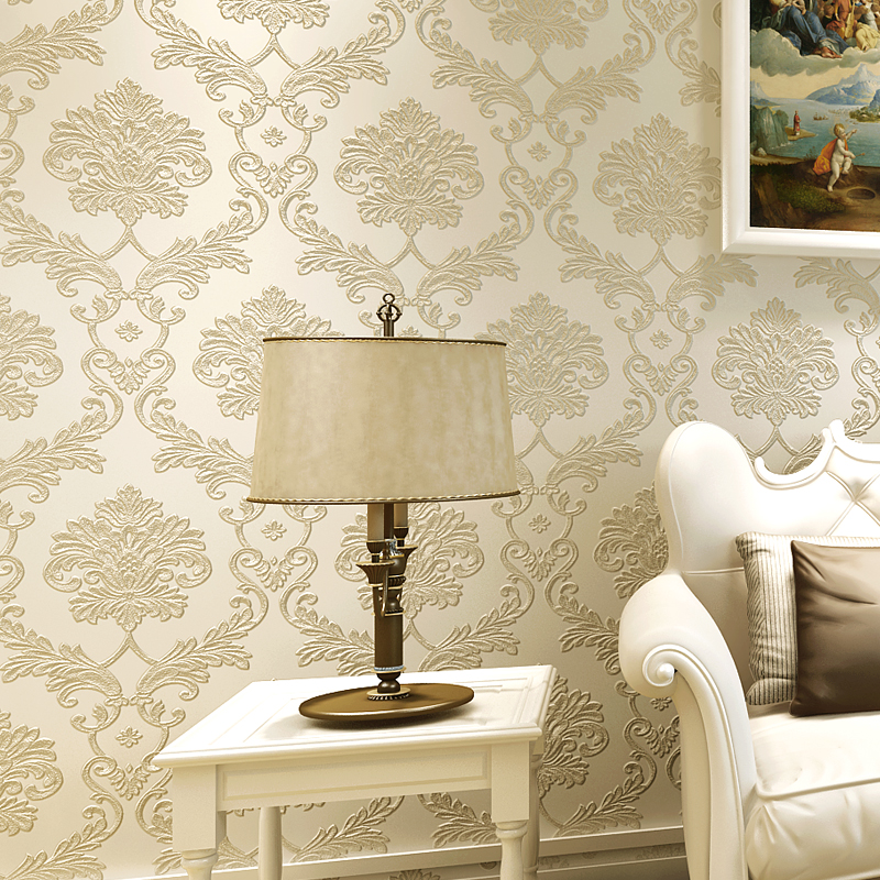 Classic European Style Damascus Wallpaper 3D Embossed Non-woven Wallpapers For Living Room Bedroom Damask Wall Paper Home Decor european style non woven wallpaper luxury damask 3d stereoscopic relief damascus bedroom living room wall paper home decor paper