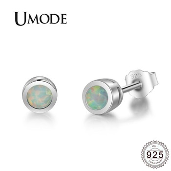 UMODE White 3mm Round Fire Opal Gemstone 925 Sterling Silver Studs Earrings for Women Fine Jewelry joyas de plata 925 ULE0484