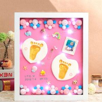 Soft Clay Casting Molds DIY Handprint Footprint Inkpad Photo Frame With Lights Newborn Baby Souvenirs Children Growth Memorial