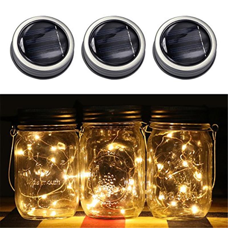 Creative LED Fairy Light 1M / 2M Saulės Mason Jar dangčio žibintų spalva keičiasi romantišką vakarėlio sodą Kalėdų vestuvių papuošalai