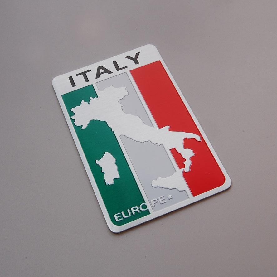 BBQ @ FUKA 3D Italien Italiensk Flaggkarta Bil Aluminium Emblem Dekal Klistermärke Passar för Iveco Lamborghini Alfa Romeo DeTomaso Maserati ect