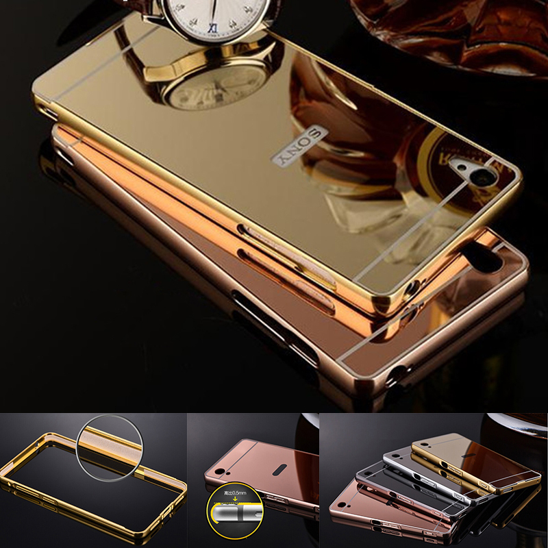 Luxury Mirror Case For Sony Xperia XA Ultra XA1 XA2 X Compact Metal Aluminum Bumper Case Cover For Sony M5 M6 Z XZ Phone Cases