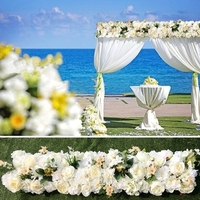 Wedding Pavillion rose artifical Flowers strips White color Wedding canopy flower decoration Event Props 3M x 24cm
