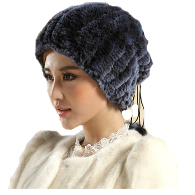 H136-women's winter white beanies with natural  rex rabbit fur ,handmade knitted warm black scarf , wholesale fur hat