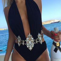 Best lady Fashion Sexy Summer Bohemian Body Necklace Chain Party Luxury Crystal Boho Waist Chain Statement Necklace Women 5160