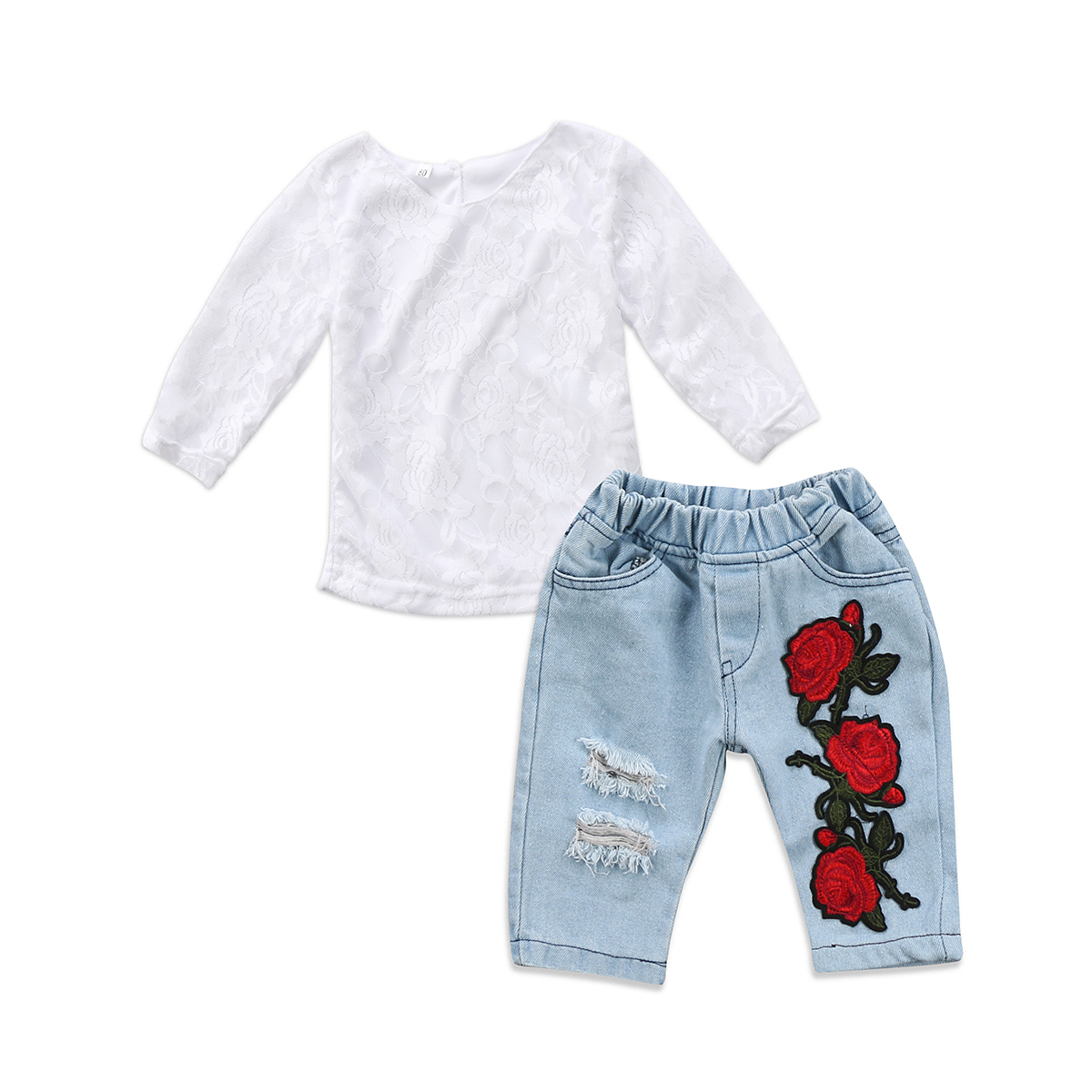 Girls Lace Flower Outfits Newborn Kids Baby Girl White Lace Tops Shirts 3D Flower Denim Pants Ripped Jeans Hot Kids Clothes Set girl off shoulder tops short sleeve denim pants jeans headbands 3pcs outfits set clothing toddler girls kids clothes sets