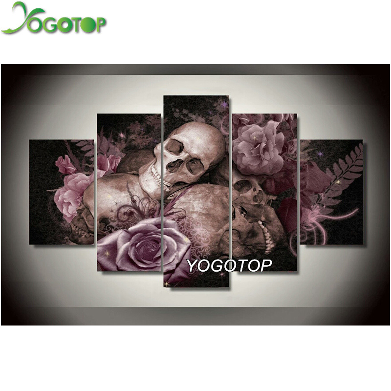 YOGOTOP skull 5pcs set Diamond Embroidery DIY Needlework Diamond Painting Cross Stitch 5D Rhinestones Painting Home