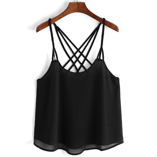 2016 Verão Novo Tanque Das Mulheres Tops Sem Mangas Chiffon Preto Casual Criss Cruz Alcinhas T-shirt Colete Tops de Culturas Blusa Camis