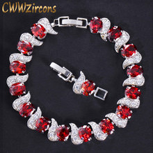 CWWZircons Exquisite Brand Design Fashion Ladies Jewelry White Gold Color Red Crystal Women Bracelet with Cubic Zircon CB177(China)