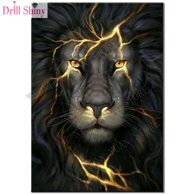 5D diamond embroidery Black lion diamond painting cross stitch needlework diamond mosaic kit full square rhinestone home decor