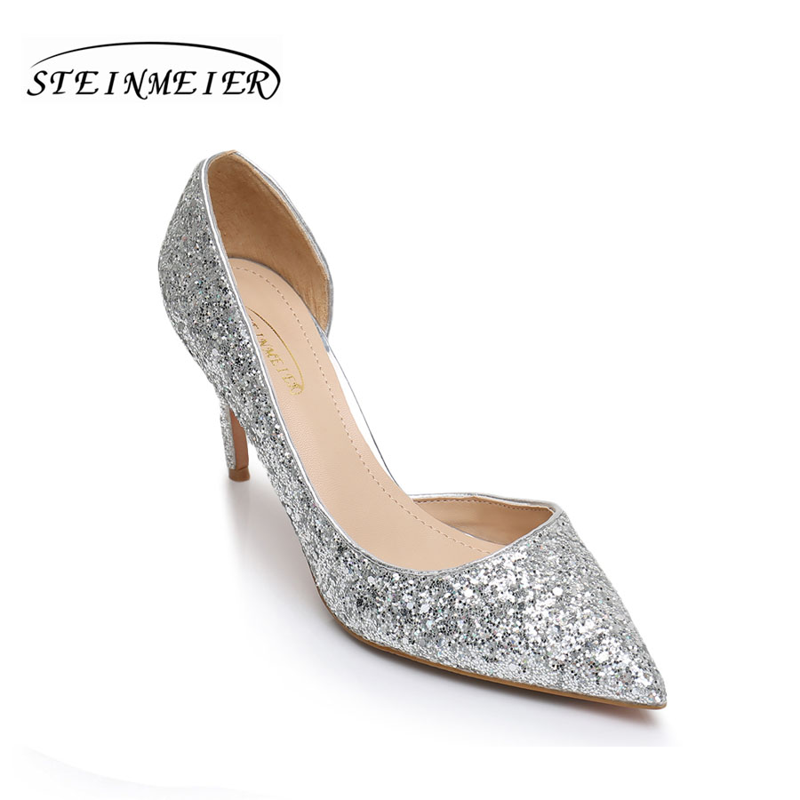 women high heels shoes sexy pumps nightclub shallow thin heel 105cm 85cm womens glitter leather pump silver wedding shoes