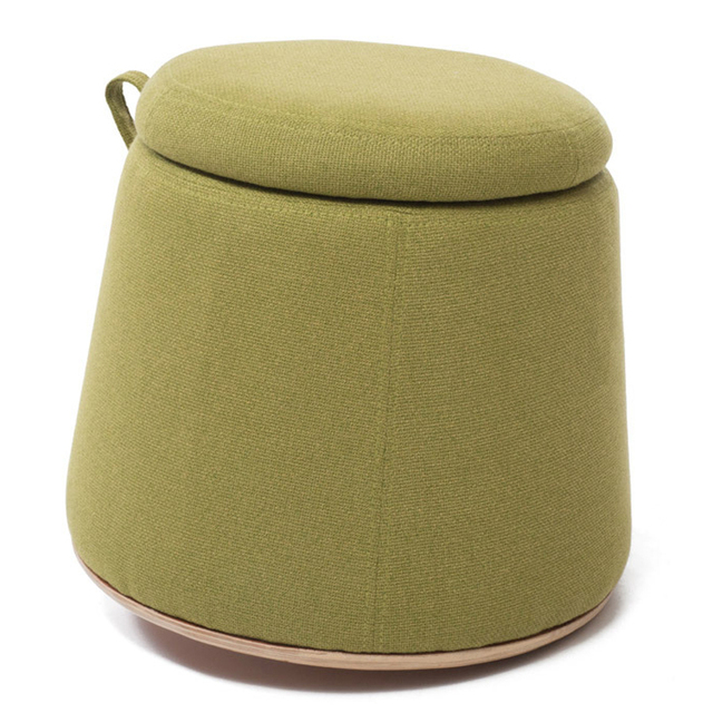 Stool Flax Cloth Wood Footstool Chair With Storage Box Inside Sofa