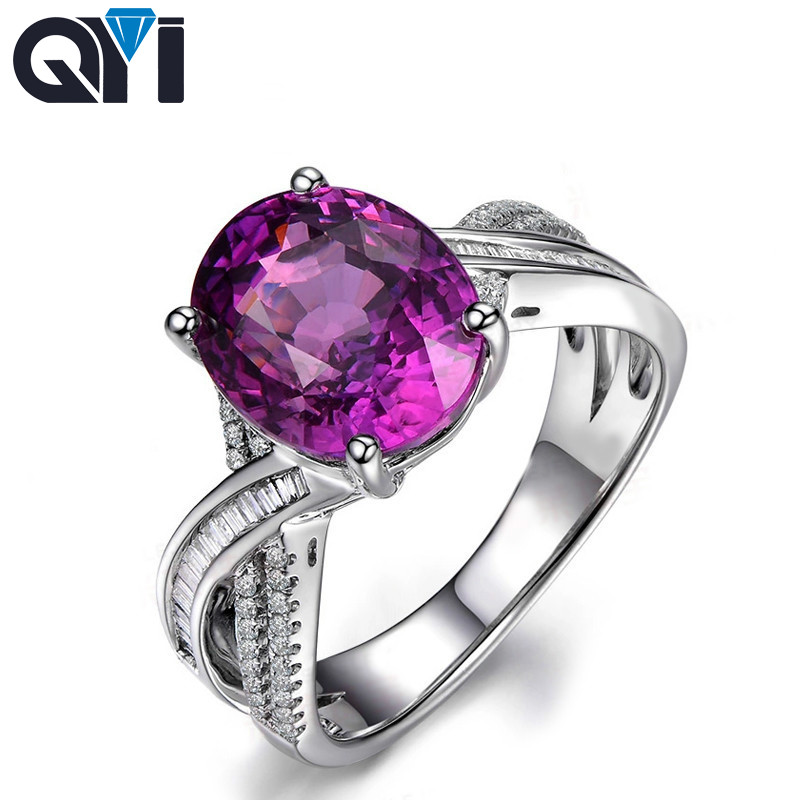 QYI Pink Cubic Zirconia Solitaire Rings 925 Sterling Silver 4ct Oval Cut Sona Stone Classic Engagement Wedding Rings For Women