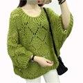 Зима Весна Женщины Трикотажные Выдалбливают Свитер 2017 Свободные Пуловеры Свитера Корейские Модная Одежда Дамы Batwing Рукавом