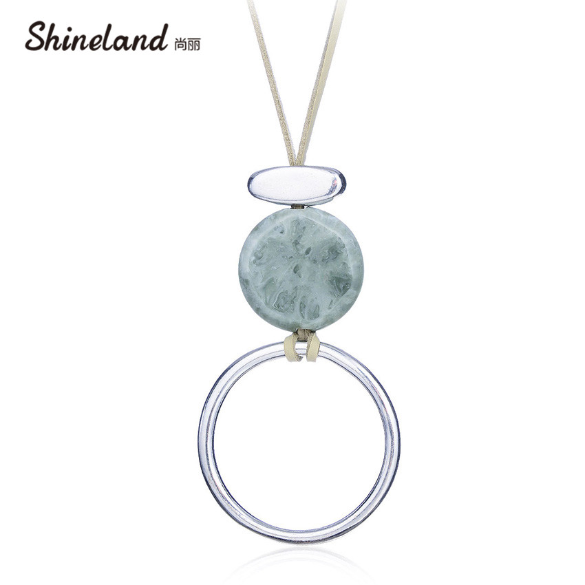 Shineland Fashion Jewelry Women Statement Necklace Alloy Round Resin Stone Rope Chain Pendants Long Ethnic Collares Accessories nylon rope alloy statement necklace set