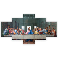 5 panels Famous HD Print Canvas Painting The Last Supper Leonardo Da Vinci Wall Pictures For Living Room kitchen Room Unframed