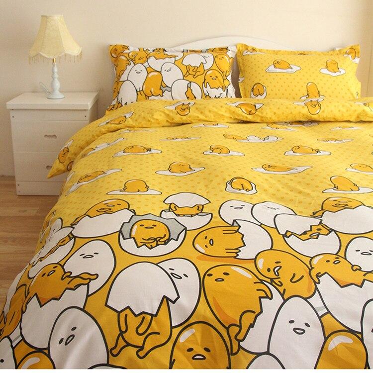 New design children cartoon gudetama bedding set twin/full/queen size 4pcs 100%cotton bed linen without filler free shipping