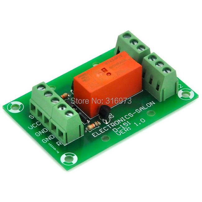 Bistable/Latching DPDT 8 Amp Power Relay Module, DC12V Coil, Tyco RT424F12
