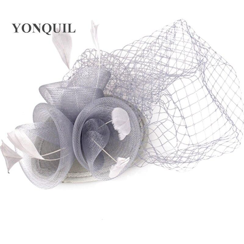 Дерби украшение с перьями аксессуары для волос 3 розы с птичьей клеткой украшения Свадебные вуали вечерние шапки несколько цветов - Цвет: Серебристый