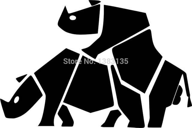 Wholesale 20 pcs lot funny rhinos vector image car sticker for truck window bumper suv