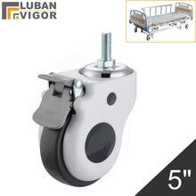 5 אינץ יוקרה רפואי ציוד גלגלים עם מגן כיסוי, עבור סיעוד מיטות, M16X30mm ברגים, אילם חומר, עומס 110kg