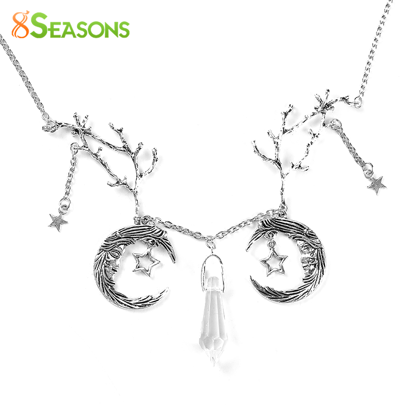 "8SEASONS Copper Statement Necklace Chain Antique Silver <font><b>Star</b></font> Moon Branch Clear Crystal Imitation Pendants 48cm(18 7/8""),1 PC"