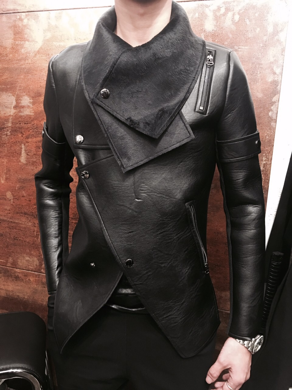 S 2XL!!Plus velvet thermal male leather clothing male slim personalized motorcycle rivet outerwear