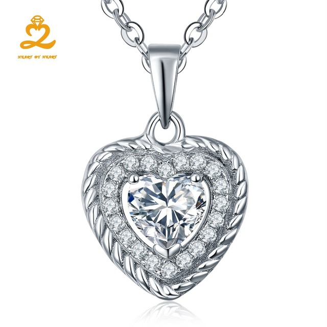 Clear Heart Shape Necklace Authentic 925 Sterling Silver Love
