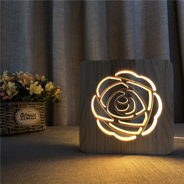 HZFCEW Novelty Ideas Rose Modeling 3D Illusion Night Light Wood Lamp Gifts For Kids Baby Birthday Bed Room Lights Decoration