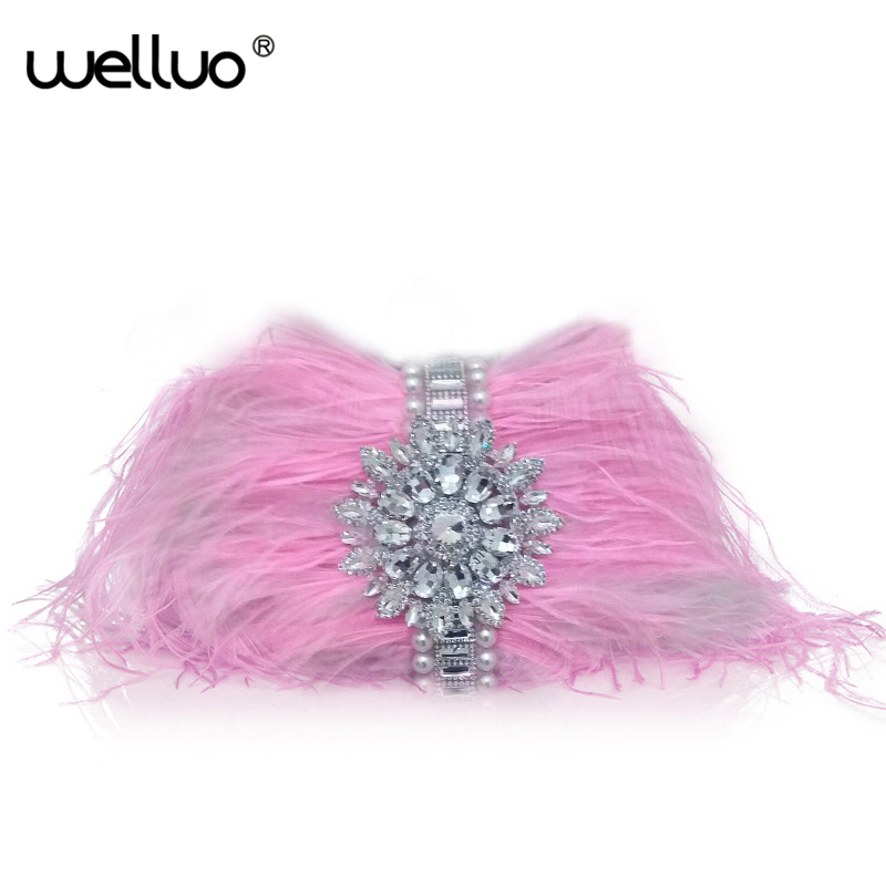 Women Day Clutches Ostrich Feather Decoration for Ladies Evening Party Handbag Beading Chain Pink Bags Female Bling Bag XA1118B silver metal lady fashion evening bag silver stylish day clutches prom ladies handbag yls g74