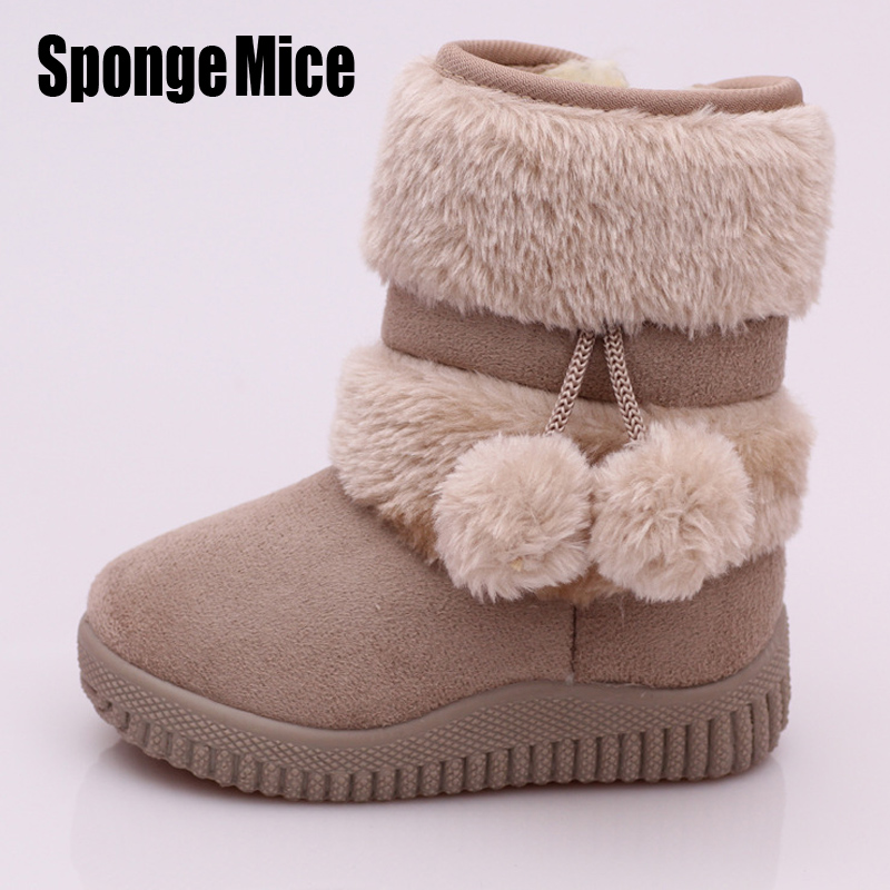 sponge mice Winter Fashion child girls snow boots shoes warm plush soft bottom baby girls boots winter snow boot for baby g112
