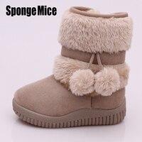 Sponge Mice Winter Fashion Child Girls Snow Boots Shoes Warm Plush Soft Bottom Baby Girls Boots