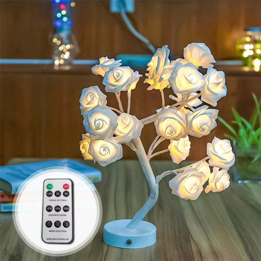 Led lamp Rose Flower Tree Shape USB Port and Battery Powered Remote Control Decorative LED Table Lights Parties Xmas Wedding in LED Night Lights from Lights Lighting