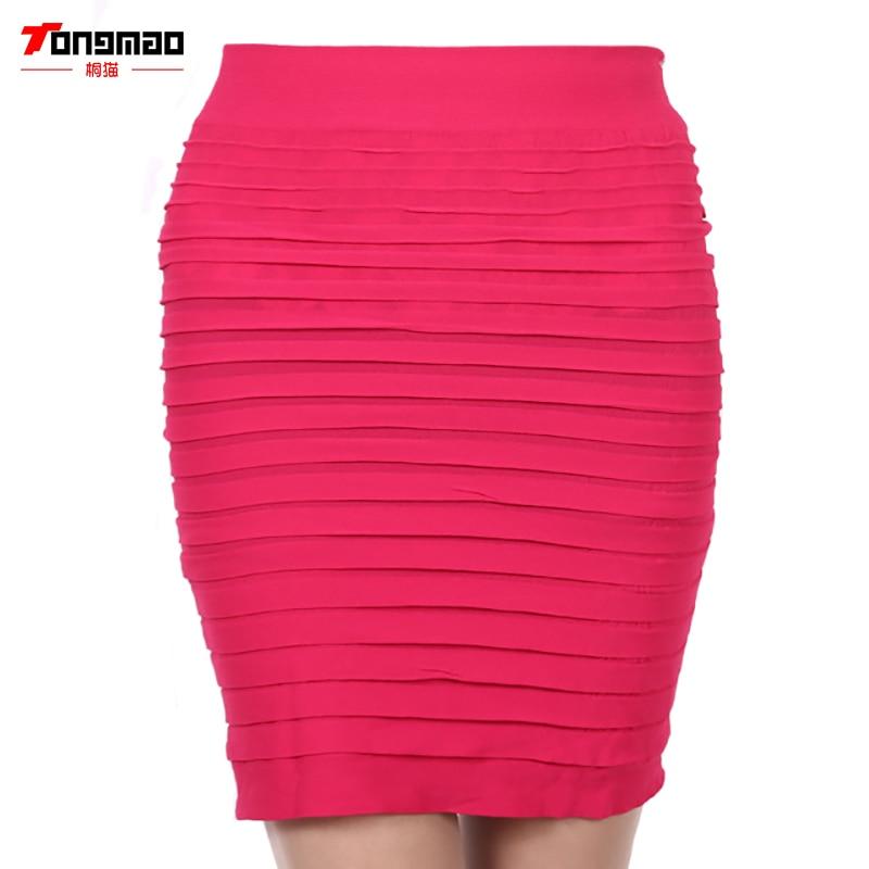 TONGMAO Nová módní letní styl Elastické Dámské sukně Vysoký pas Candy Color Plus Velikost Elastická skládaná krátká sukně