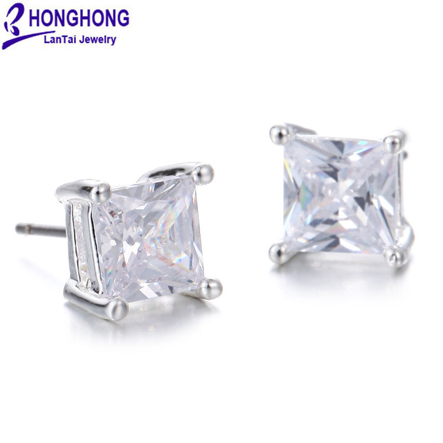 HONGHONG aretes de mujer High-quality Cubic zirconia Square stud earrings for women Glittering Popular female jewelry