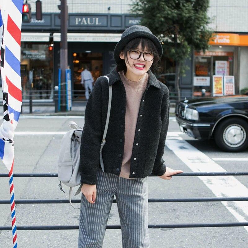 d34a4f4a7 black tweed jacket women 2016 korean preppy style autumn warm knit ...